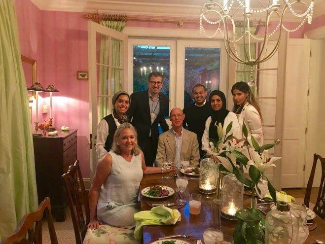 Dinner Hosted by EF Trustee Jim Hovey and wife Carol Hovey (Top Row L-R: Saudi Arabia Fellows '18) Baheirah